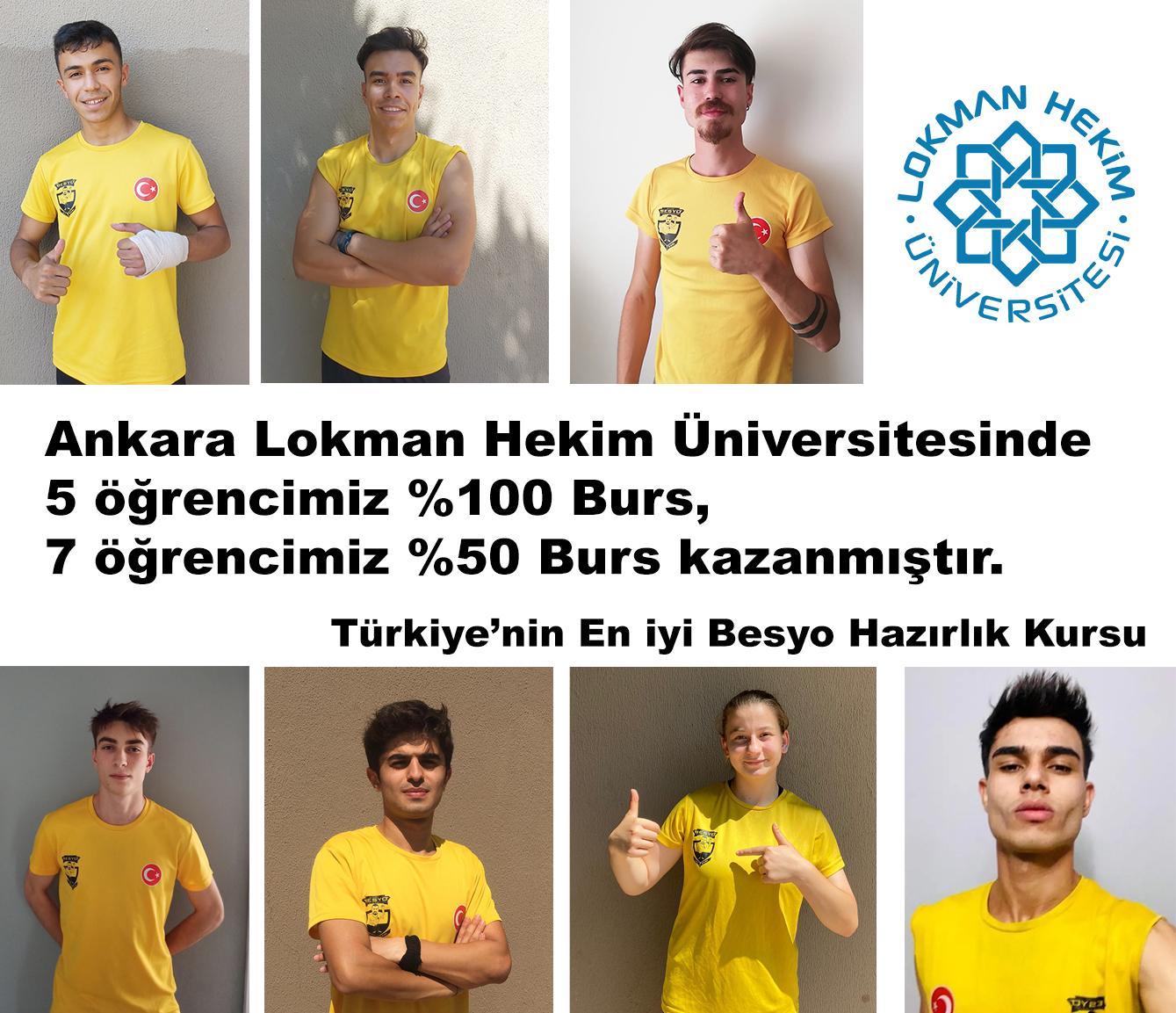 Ankara Lokman Hekim Üniversitesinde 5 öğrencimiz  %100 Burs, 7 öğrencimiz %50 Burs kazanmıştır.